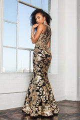 Black gold 2 piece  prom dress GLS 2272