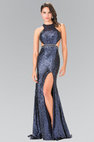 aa53d26506 All over sequins formal dress with cut back and high slit gl2278 - Simply  Fab Dress