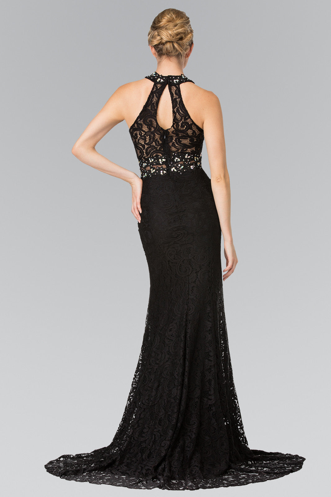 262b172e13 ... Fitted lace mermaid formal dress with beaded halter neckline and waist   gl2297 - Simply Fab
