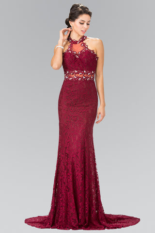 Fitted lace mermaid formal dress with beaded halter neckline and waist #gl2297 - Simply Fab Dress