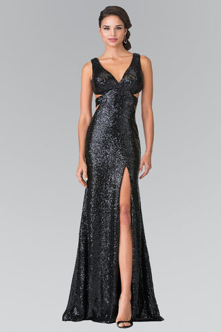 All over sequins formal dress with cut back and high slit gl2300-Simply Fab Dress