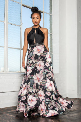 Long Floral prom dress    # GL2302