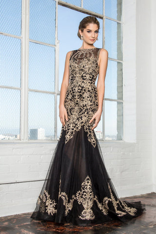 Black mermaid prom dress with gold lace   GLS 2307