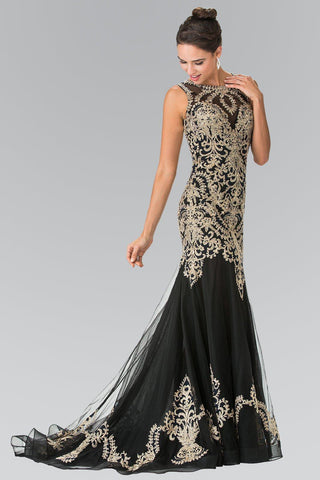 Black mermaid prom dress with gold lace GLS 2307-Simply Fab Dress