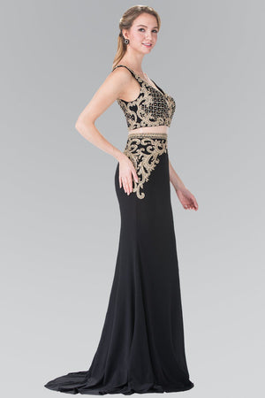 Gold crop top 2 piece prom dress gl2334-Simply Fab Dress