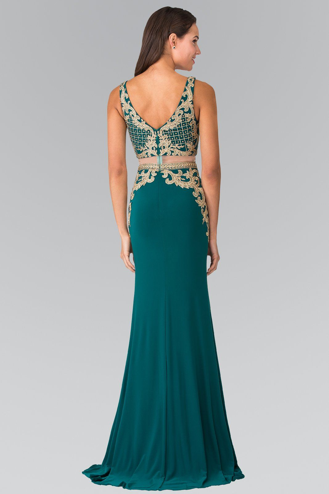 Crop top 2 piece prom dress with gold lace gl2334 – Simply Fab Dress