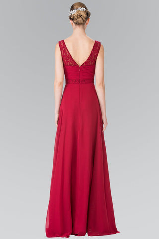 Burgundy cheap long chiffon bridesmaid dress gl2363 - Simply Fab Dress