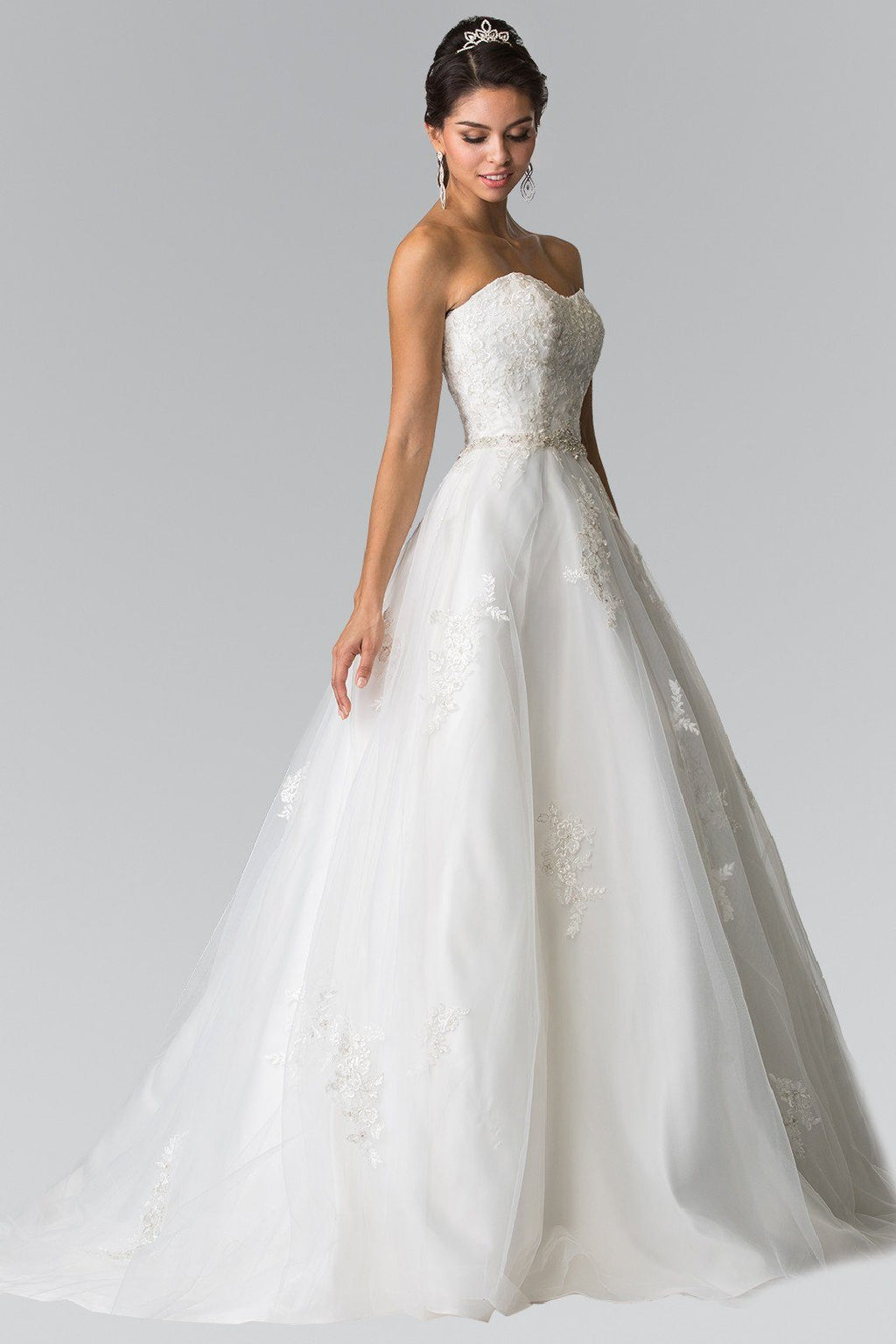 Sweetheart neckline lace bodice strapless a-line ball gown wedding dress gl2370 - Simply Fab Dress