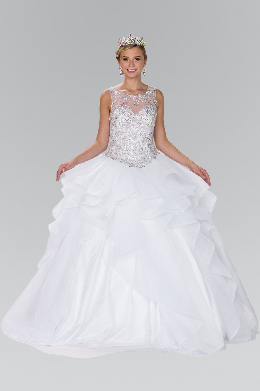 White Ball gown dress with ruffle gls 2378 – Simply Fab Dress