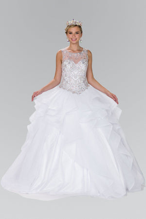White Ball gown dress with ruffle gls 2378-Simply Fab Dress