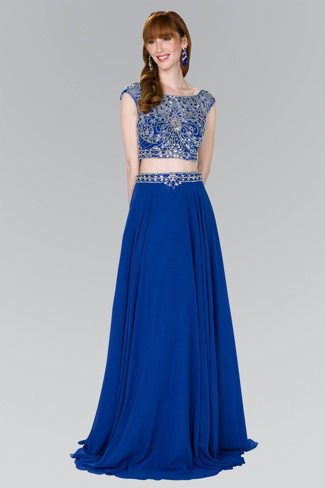 Sparkly 2 piece royal blue prom dress gl2422-Simply Fab Dress