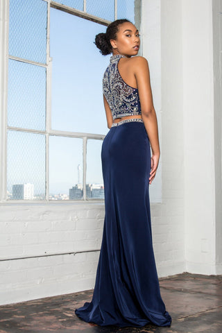 Navy 2 piece long prom dress  gl2424