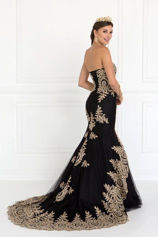 Stunning mermaid prom dress with gold embroidery  DQ2428