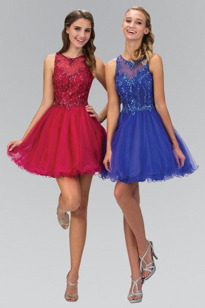Sheer Illusion Neckline, Jewel Embellished Cocktail Dress Prom dress - Simply Fab Dress