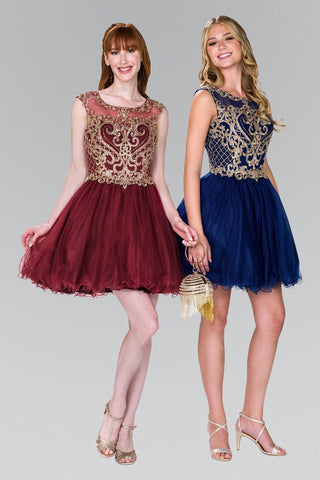 886d699d95 Beautiful beaded gold embroidered bodice short homecoming dress GLS  GS2381  - Simply Fab Dress