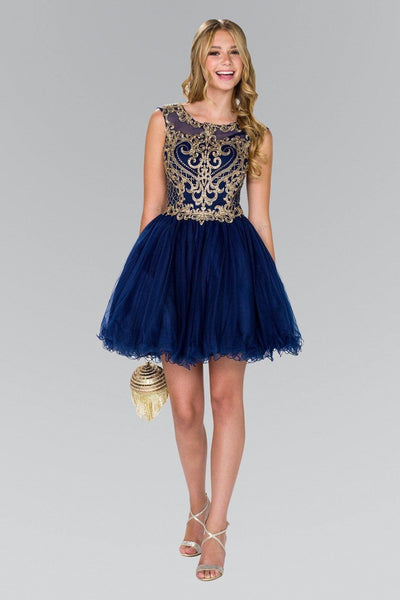 Beautiful beaded gold embroidered bodice short homecoming dress GLS #GS2381 - Simply Fab Dress