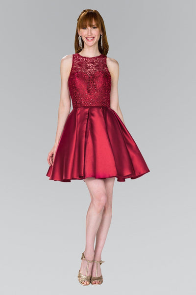 Burgundy lace top short satin homecoming dress  gls #gs2383 - Simply Fab Dress