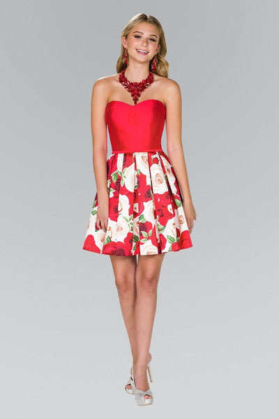 Strapleess sweetheart neckline red floral homecoming dress GLS #gs2385 - Simply Fab Dress
