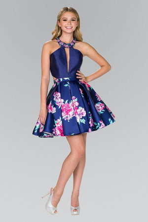 Sexy navy floral print short homecoming dress gls #gs2392 - Simply Fab Dress