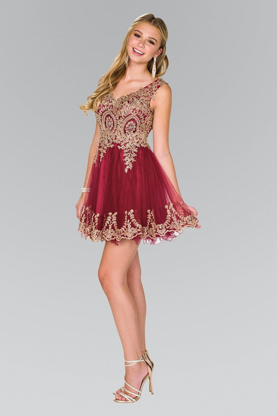 Burgundy gold bodice short homecoming dress  gls #gs2403 - Simply Fab Dress
