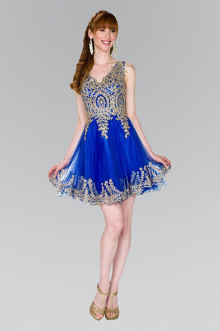 Dazzling beaded gold  bodice homecoming dress   gls #gs2403 - Simply Fab Dress