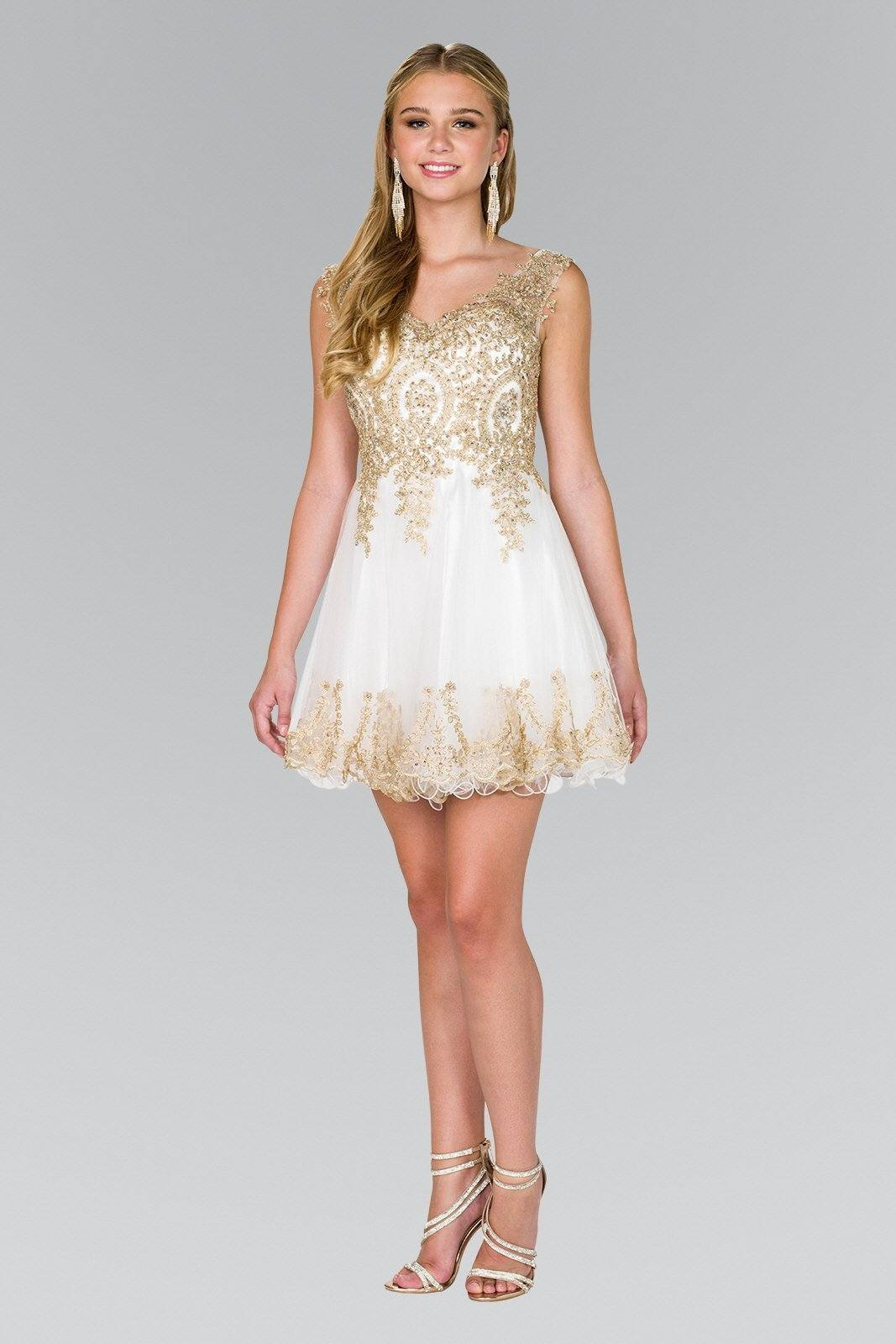 White homecoming dress  with gold beaded bodice  gls #gs2403 - Simply Fab Dress