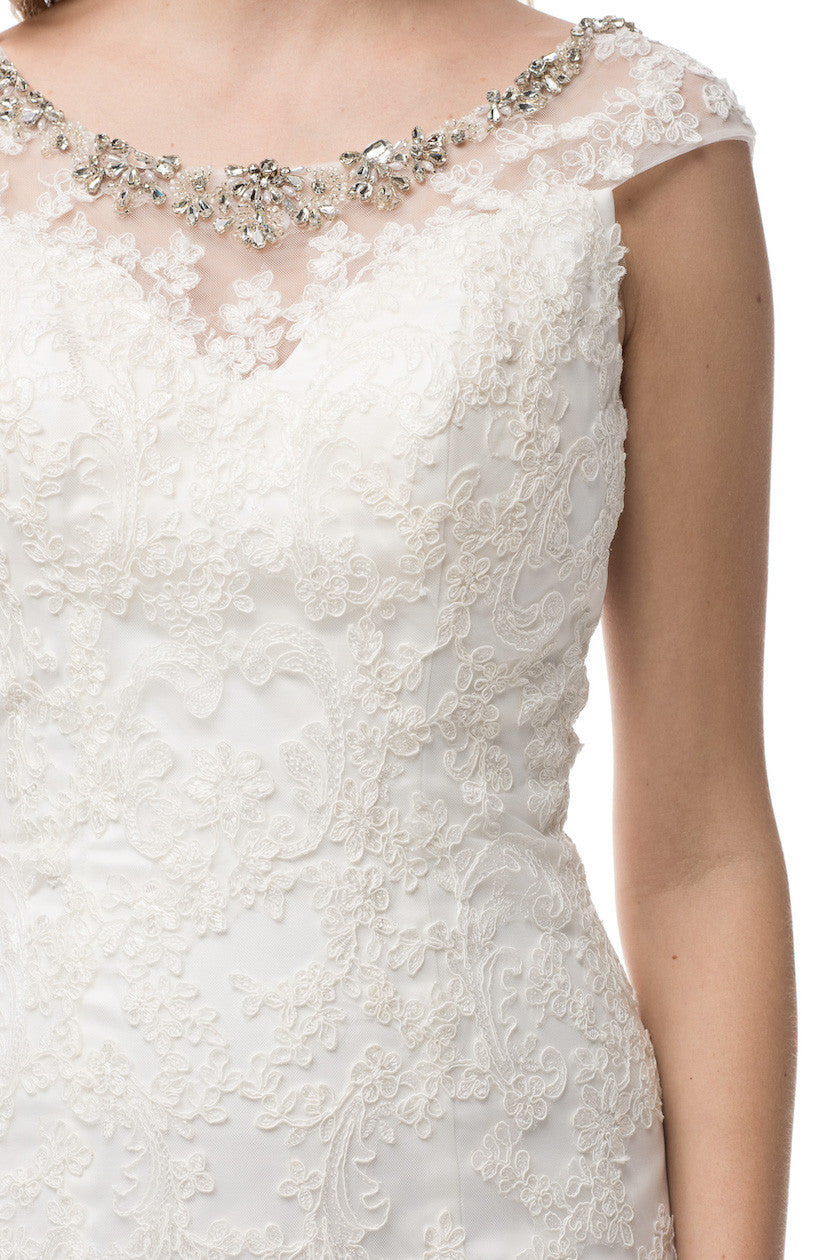 Beaded neckline lace fit & flare wedding dress BC#HCW062 - Simply Fab Dress