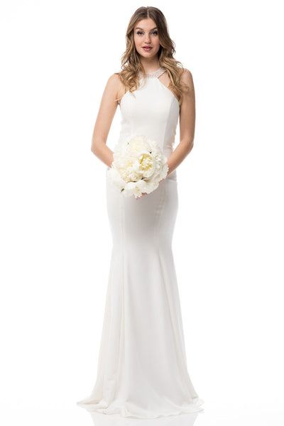Halter neckline sexy beach wedding dress BC#IQW334 - Simply Fab Dress