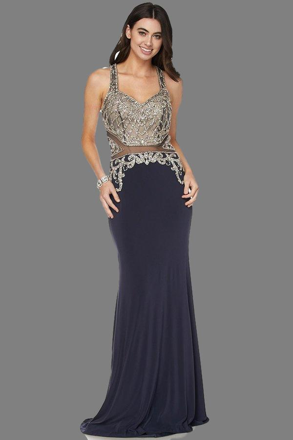 Cheap elegant v cut sheer mesh top floor length dress 105-618 Prom dress - Simply Fab Dress