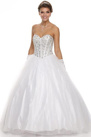Full Beaded Bodice Strapless Ball Gown Wedding Dress Jul312