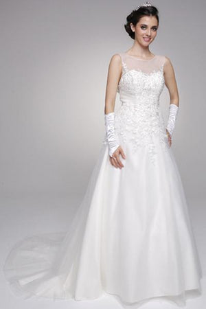 Sheer illusion strapless neckline a line ball gown wedding dress jul#324 - Simply Fab Dress