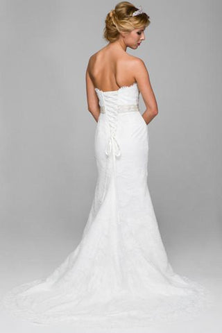 Elegant Simple lace fit and flare wedding dress jul#334 - Simply Fab Dress