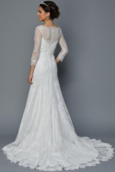 Sheer lace long sleeve mermaid wedding dress jul#364w – Simply Fab Dress