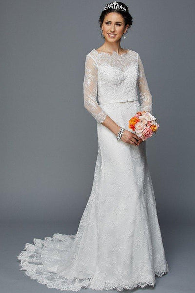 Sheer lace long sleeve cheap mermaid wedding dress jul#364w - Simply Fab Dress