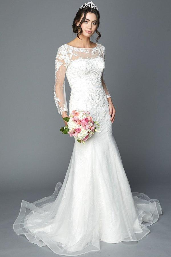 long sleeve mermaid wedding dress with sheer back - Simply Fab Dress