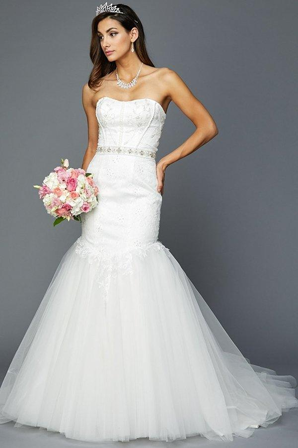Inexpensive strapless mermaid wedding dress with belt - Simply Fab Dress