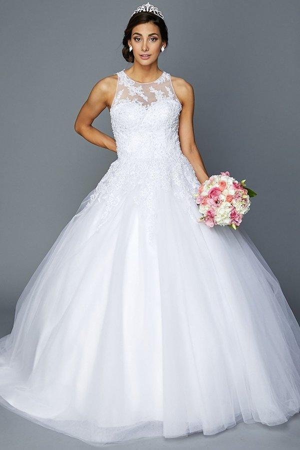 affordable ball gown wedding dress with princess train - Simply Fab Dress