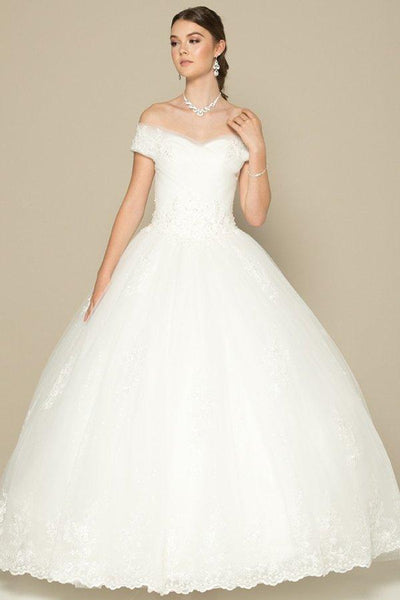 Off the shoulders ball gown wedding dress jul#378-Simply Fab Dress