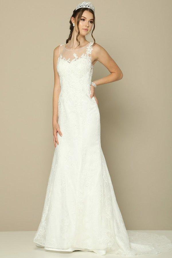 Sheer illusion a line wedding dress jul#379-Simply Fab Dress