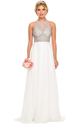 Sexy beaded sheer bust prom dress with high Neckline Evening dress jul#602w - Simply Fab Dress