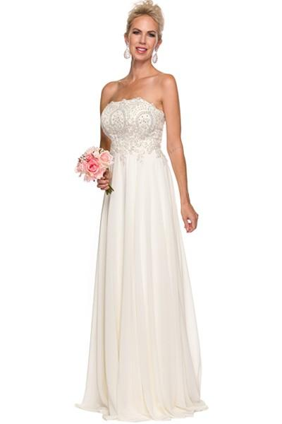 Strapless empire waist long chiffon wedding dress 626W – Simply Fab ...