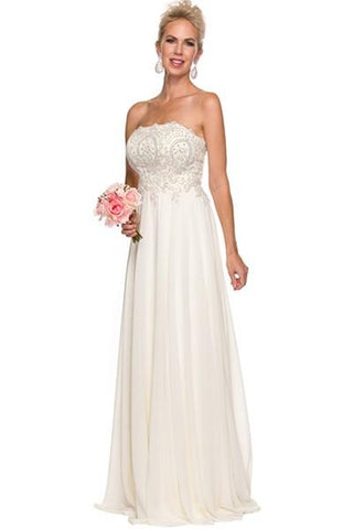 Strapless empire waist long chiffon wedding dress 626W - Simply Fab Dress