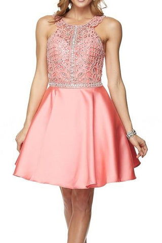 Pink Halter neckline homecoming dress with satin skirt jul#790 - Simply Fab Dress