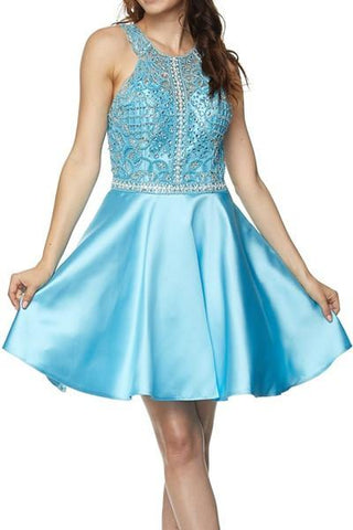 Halter neckline homecoming dress with satin skirt jul#790 - Simply Fab Dress