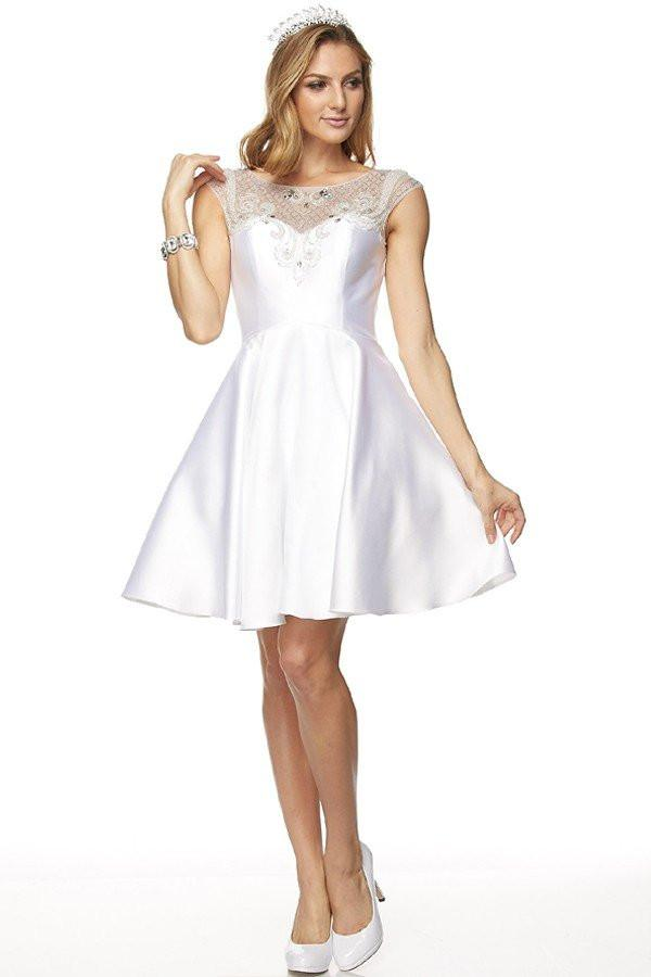 Cap sleeve short casual wedding dress jul#783w - Simply Fab Dress