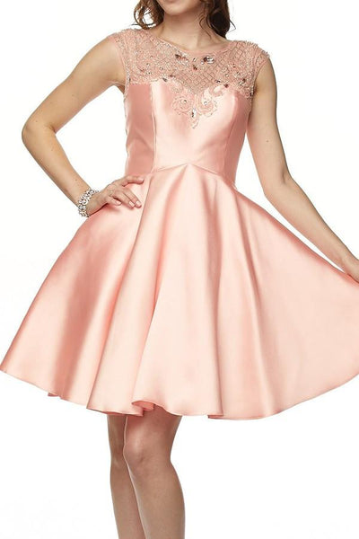 cap sleeve satin homecoming dress jul#783 - Simply Fab Dress