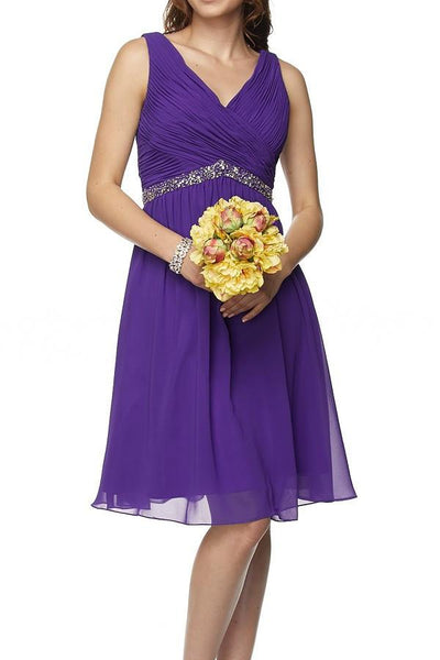 Affordable knee length chiffon bridesmaid dress jul#786 - Simply Fab Dress