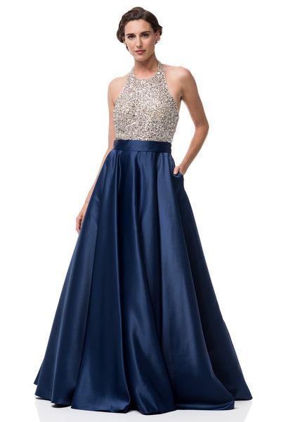 full sequins bodice a-line ball gown prom dress BB KS9122 - Simply Fab Dress