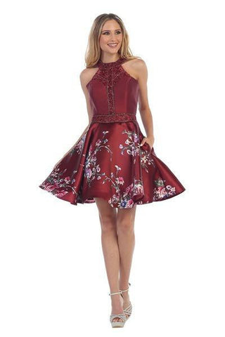 Short floral homecoming dress  js806