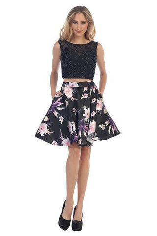Two piece black homecoming dress with burgundy skirt #056-290
